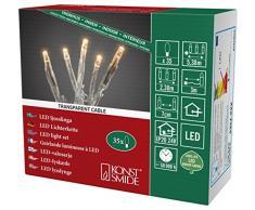 Konstsmide 6352-823 Micro LED Lichterkette / für Innen (IP20) / VDE geprüft / 24V Innentrafo / 35 bernsteinfarbene Dioden / transparentes Kabel