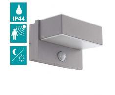 EGLO LED Außen-Wandlampe Azzinano, 2 flammige Außenleuchte inkl. Bewegungsmelder, Sensor-Wandleuchte aus Stahl und Kunststoff, Farbe: Silber, weiß, IP44