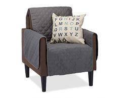 Relaxdays, Grau Sofaschoner 1 Sitzer, schützender Überwurf Sessel gegen Tierhaare u. Flecken, Schonbezug, Sesselüberwurf