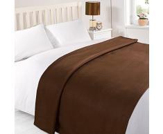 Tonys Textiles Fleecedecke - Überwurf für Sofa, Bett, Sessel - einfarbig - besonders weich - Schokoladenbraun