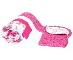 1001 Wohntraum T414 Quilt O pink Blumen, 230 x 250 cm, Plaid Tagesdecke, Patchwork Landhaus Shabby Decke