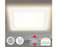 Briloner Leuchten LED Panel, Deckenleuchte, Deckenlampe mit Hintergrundbeleuchtungseffekt, 12 Watt, 1.400 Lumen, 4.000 Kelvin, Weiß, Quadratisch, 19x19cm, W