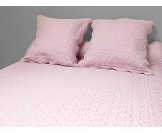 Soleil docre 376004 Tagesdecke Uni rosa 240x260 cm + 2 Kissenbezüge