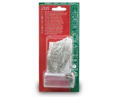Konstsmide 1407-553 LED Lichterkette / für Innen (IP20) / VDE geprüft / Batteriebetrieben: 2xAA 1.5V (exkl.) / mit Schalter und 6h Timer / 10 roten Dioden / transparentes Kabel