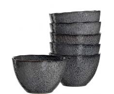 Leonardo Schale Matera 6-er Set, 15,3 cm, 6 Keramik Schalen, spülmaschinengeeignet, mit Glasur anthrazit, 018561