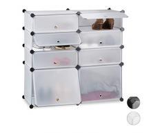 Relaxdays Schuhregal Kunststoff, Regalsystem 8 Fächer, Steckregal mit Türen, für 16 Paar, HBT 91x94,5x36,5cm, transparent