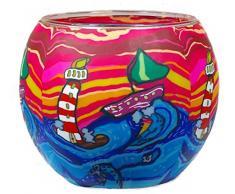 Himmlische Düfte Geschenkartikel CC202 Tischdekoration, Waves Windlicht Glas 11 x 11 x 9 cm, bunt