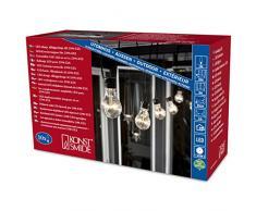 Konstsmide 2399-100 LED Biergartenlichterketten System Erweiterung: Lichterkette/für Außen (IP44) / 10 klare Birnen / 80 warm weiße Dioden/schwarzes Kabel