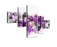 "LANA KK - Leinwandbild Stars Lila"" abstraktes Design auf Echtholz-Keilrahmen – Fotoleinwand-Kunstdruck in lila, fünfteilig & fertig gerahmt in 160x100cm"