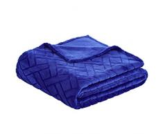 AmazonBasics - Fleecedecke, Prägemuster, Blau, 150 x 200 cm
