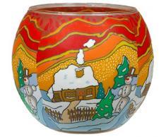 Himmlische Düfte Geschenkartikel CC265 Tischdekoration, Snowy Cottage Windlicht Glas 11 x 11 x 9 cm, bunt