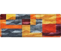 DECO-MAT Rutschfester Teppich-Läufer ohne Rand für den Innenbereich oder Eingangsbereich, 80 x 200 cm, modren / gelb - orange