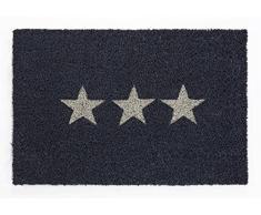 andiamo, Fußmatte aus Kokos mit Gummirücken, Motiv Stern, robust, Größe:40 x 60 cm, Farbe:Grau Design 1