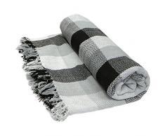 Just Contempo Weiches, 100%Baumwolle, Kariert, Überwurf, Decke/Überwurf, Sofa, Bett, Tropen-Design, 100% Baumwolle, Black (Grey Charcoal White, Double 228cm x 254cm (90x102)