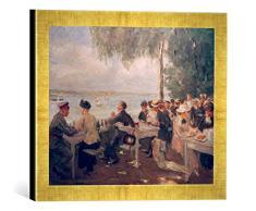 Gerahmtes Bild von Max Liebermann Gartenlokal an der Havel-Nikolskoe, Kunstdruck im hochwertigen handgefertigten Bilder-Rahmen, 40x30 cm, Gold Raya