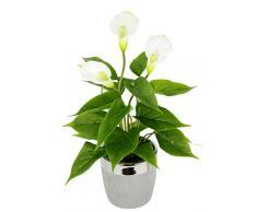 Flair Flower, weißen Kunstpflanze Calla im Übertopf aus Keramik, Blüten, Kunstblumen, Seidenblumen, Kunststoff, Unechte, Künstliche Deko, Gefälschte Blumen, 42x23 cm