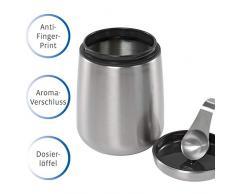 Kaffeedose Edelstahl 500g I luftdicht I magnetischer Dosierlöffel im Deckel I Anti Finger Print I Kaffeebehälter mit Aromaverschluss I Kaffeepulver