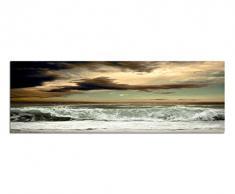 Panoramabild auf Leinwand und Keilrahmen 150x50cm Meer Wellen Sturm Wolkenhimmel