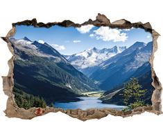 Pixxprint 3D_WD_1539_92x62 Berge mit See Wanddurchbruch 3D Wandtattoo, Vinyl, bunt, 92 x 62 x 0,02 cm