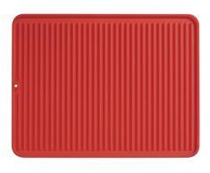 iDesign Abtropfmatte, große Spülbeckenmatte aus Silikon, gerillte Geschirrabtropfmatte für die Ablage von Besteck und Geschirr, rot