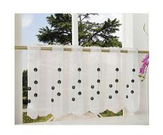 Gardinenbox Transparente Scheibengardine aus Voile, 40x120, Schwarz, luftiger Voile mit gesticktem Muster, 42002