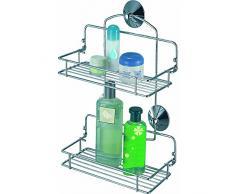 MSV Duschregal - ohne Bohren zu montieren - Badregal für Shampoo, Schwämme und sonstiges Duschzubehör