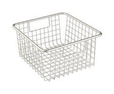 iDesign 69555EU Forma Aufbewahrungskorb für Speisekammer, Küchenschrank - Quadratisch, 23,50 x 26,04 x 13,34 cm, satin, Metall