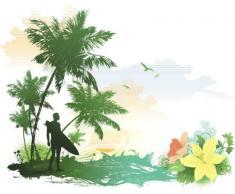 INDIGOS 4051719802498 Wandtattoo ME038 Surfer Strand Palmen Wasser Beachparty 80 x 64 cm