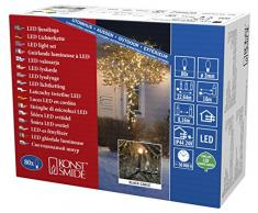 Konstsmide 3611-800 Micro LED Lichterkette / für Außen (IP44) / VDE geprüft / 24V Außentrafo / 80 bernsteinfarbene Dioden / schwarzes Kabel