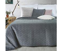 Eurofirany Exklusive Decke Tagesdecke Glamour 200x220 170x210 Steppdecke Bettüberwurf Überwurf (AURELA Graphit, 200 x 220 cm), Stoff