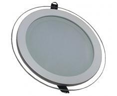 V-TAC 4744 12 W LED Panel Einbauleuchte Glas - Rund - 3000 Kelvin warmweisses VT-1202G RD