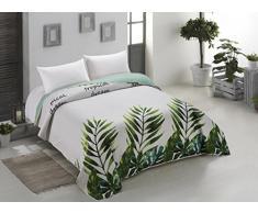 AmeliaHome 00189 Tagesdecke 260x280 cm weiß grün grau Bettüberwurf zweiseitig Steppung pflegeleicht Monstera Blätter Pflanzenmuster stahl hellgrün seladongrün anthrazit Makia