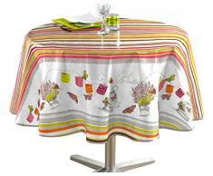 Decorline 160cm bedruckt Öl Tuch Guinguette Tischdecke, mehrfarbig