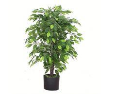 Leaf Design UK Kunstpflanze, 90 cm, buschig, schwarzer Kunststofftopf, 90cm Bushy Ficus Tree