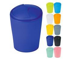 Spirella Kosmetikeimer Move Abfalleimer Schwingdeckeleimer | Kunststoff | 2 Liter |Marine Blau