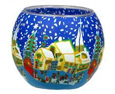 Himmlische Düfte Geschenkartikel CC256 Tischdekoration, Snowy Village Windlicht Glas 11 x 11 x 9 cm, bunt