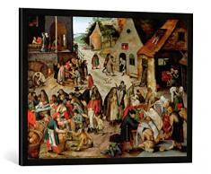 Gerahmtes Bild von Pieter Brueghel der JüngereDie Werke der Barmherzigkeit, Kunstdruck im hochwertigen handgefertigten Bilder-Rahmen, 80x60 cm, Schwarz matt