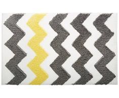 InterDesign Chevron Duschvorleger, rutschfeste und schnelltrocknende Badmatte aus Microfaser-Polyester mit Zickzack-Muster, grau/gelb