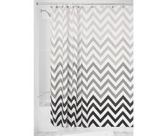 InterDesign Ombre Chevron Textil Duschvorhang | 183 cm x 183 cm Vorhang aus Stoff mit Zickzackmuster | pflegeleichte Duschabtrennung für Badewanne und Duschwanne | Polyester grau