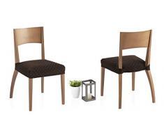 Bartali Zweier Set Stretch Hussen für Stühle Olivia - Farbe Braun - Größe (45 x 45 cm)