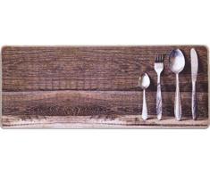 oKu-Tex Fußmatte | Schmutzfangmatte | Deco-Flair Kitchen | Aufdruck/Motiv Besteck | Küchenläufer für innen | Küche | rutschfest | 50x120 cm