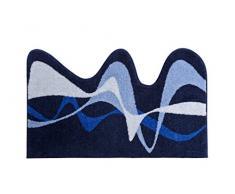 Grund KARIM RASHID Exklusiver Designer Badteppich 100% Polyacryl, ultra soft, rutschfest, ÖKO-TEX-zertifiziert, 5 Jahre Garantie, KARIM 19, Badematte 75x120 cm, blau