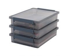IRIS 135451, 3er-Set Aufbewahrungsboxen Little Large Box A4, Plastik, durchsichtiges Grau, 36,5 x 25 x 7 cm