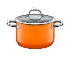 Silit Passion Orange Kochtopf hoch mit Glasdeckel, 20 cm, Fleischtopf 3,7l, Silargan Funktionskeramik, Schüttrand, induktionsgeeignet, Auslaufmodell, orange
