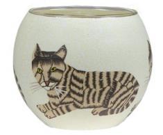 Windlicht Glas Cup Teelichthalter Kerzenhalter KATZE Größe 9 x 11 cm als Tischdekoration …