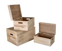 Small Foot 10049 Holztruhe 3er Set, Holz, natur, 42 x 31 x 24 cm