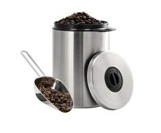 Xavax Kaffeedose für 1kg Kaffeebohnen (luftdichter Kaffeebohnen-Behälter mit Kaffee-Schaufel, Aromadose aus Edelstahl, Vorratsdose zur Aufbewahrung) silber