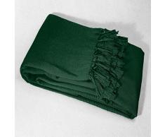 Douceur dIntérieur Sofa-Überwurf mit Fransen, Baumwolle, 220 x 240 cm, Grün
