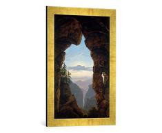 Gerahmtes Bild von Karl Friedrich Schinkel Felsentor, Kunstdruck im hochwertigen handgefertigten Bilder-Rahmen, 40x60 cm, Gold Raya