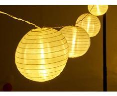 AMARE LED Lichterkette mit 15 XXL Lampions mit 15 cm Durchmesser, strombetrieben mit 6 h Timer und IP44 Außentransformator CE + GS, warmweiß, Kette 7 m, Länge Zuleitung ca. 10 m